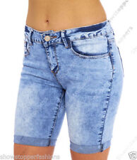 Denim Casual Mid Rise Shorts for Women