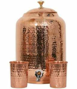 100% Pure Copper Hand Hammered Water Dispenser 8 L Pitcher With 2 Serving Glass