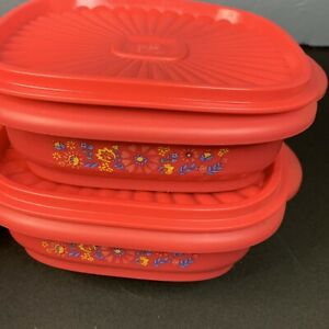 Pioneer Woman Mazie Food Storage Red Square 3 Cup Container Set of 2 With Lid