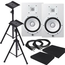 Yamaha HS8W White Powered Studio Monitor w/ XLR3M Cables, HS8 CABLE BUNDLE *NEW*