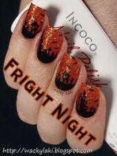 INCOCO (makes Color Street) FRIGHT NIGHT (Orange Black Glitter Haunted Mansion)