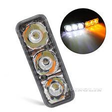 2 X High Power 6 LED Car White DRL & Amber Turn Signal Daytime Running Light 12V