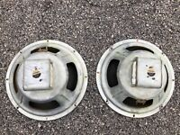 "2 Vintage Fisher W-112B 12"" Alnico 8-ohm Tube Amplifier Speakers (1 bad)"