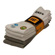 CAT Caterpillar antibacterial working socks 5 pair US 8 - 11 12 - 15 white grey