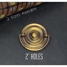 "Antique Drawer Pulls Keeler Brass Round Hepplewhite Furniture Handle Holes 2"""