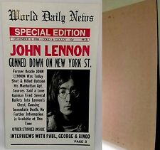 "World Daily News JOHN LENNON GUNNED DOWN Nostalgia Heavy Stock 22""x14""Poster-NEW"
