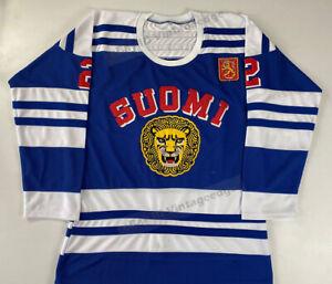 1976 Canada Pekka Rautakallio Team Finland Hockey Jerseys Stitched Custom Names