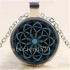 Sacred Geometry Mandala Cabochon Glass Tibet Silver Chain Pendant  Necklace