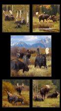 "Elizabeth's Studio Moose by Kyle Sims 8800 BLK Black 24"" Panel Cotton Fabric"