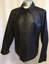 APOSTROPHE Black Genuine Leather Crocodile Print Womens Zipper Jacket Lined 14