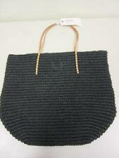 Merona Target Leather Straw Beach Tote Bag Purse Black  Natural Paper/leather