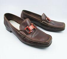 Salvatore Ferragamo Size 9c Vintage 90s Horsebit Brown Leather Moccasins Loafers