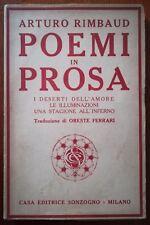 RIMBAUD Arturo. Poemi in prosa. Prima edizione italiana. Sonzogno 1919 Intonso