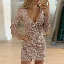 Womens Sexy V Neck Sequin Mini Bodycon Dress Ladies Long Sleeve Evening Party UK
