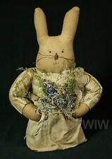 Hand-crafted Primitive Girl Bunny Rabbit With Apron And Dried Flowers New