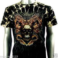 Survivor T-Shirt Biker Motorcycle Rock Tattoo S72 Sz M L XL XXL Skull Dragon Vtg