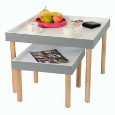 RAYLEIGH - Tray Table Nest of Two Set - Grey / White / Pine ST13A041