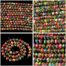 "4mm 6mm 8mm Multicolor sea sediment jasper round heishi rondelle loose beads 16"""