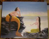 MERMAID PLUS SIZE FOLK ART NAIVE NAUTICAL SUNRISE OCEAN LISTED ARTIST PAINTING