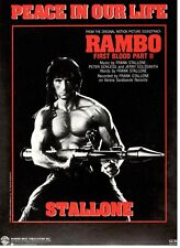 "STALLONE ""PEACE IN OUR LIFE"" SHEET MUSIC-1985-RAMBO-FIRST BLOOD-RARE-NEW ON SALE"