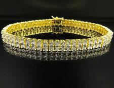 "Yellow Gold Finish Genuine Diamond Fanook 2 Row Tennis Bracelet 1/2 CT 8"" 8MM"