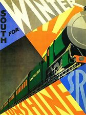 ART PRINT POSTER TRAVEL SOUTH WINTER SUNSHINE TRAIN RAIL ENGINE SUN UK NOFL1370