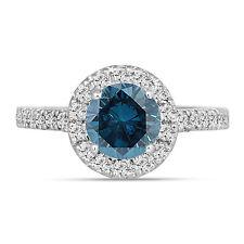Platinum Enhanced Fancy Blue Diamond Engagement Ring 1.61 Ct Certified Handmade