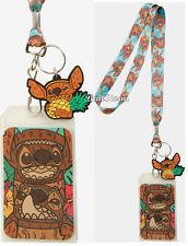 Disney Lilo & Stitch TIKI ID Holder Lanyard With Rubber Stitch & Pineapple Charm