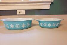 Vintage Pyrex Turquoise Snowflake Casserole 043 045 SET 1.5Qt 2.5Qt