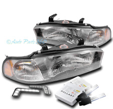 FOR 95-97 SUBARU LEGACY/OUTBACK CRYSTAL HEADLIGHTS LAMP CHROME W/DRL LED+HID KIT