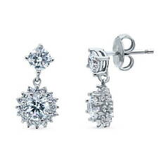 BERRICLE Sterling Silver Cubic Zirconia CZ Flower Halo Fashion Dangle Earrings