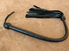 "COWHIDE BLACK LEATHER FLOGGER 32"" LONG HAND MADE SINGLE BULL WHIP FLOGGER."