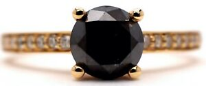 14K Yellow Gold Black Diamond Ladies Dress Ring RRP $4,230.00