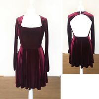 Burgundy Red Velvet Dress 12 Backless ASOS Party Evening Long Sleeve Formal Mini