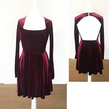 Asos Velvet Dress 12 Burgundy Red Backless Christmas Party Evening Long Sleeve