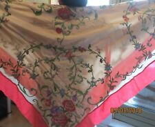 antique/EXCELLENT/French silk.embroidered/Large scarf/wrap//60insx60 ins/orp£700