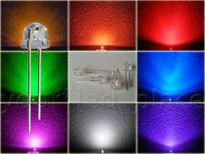 5mm Straw Hat LED 90-120° BLAU,ROT,GRÜN,GELB,ORANGE,WEIß,UV,PINK Kurzkopf Flachk