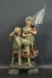 """""""Im Sturm"""" 63 cm Jugendstil Stuck Figur gefasst R. Carls Cassel um 1900 (MÖ3540)"""