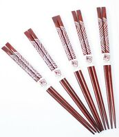 Set of 5 Pairs Brown and White Japanese Style Sushi Wooden Chopsticks Gift Boxed