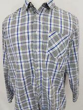 English Laundry White Black & Blue Plaid Long Sleeve Cotton Shirt Men's XL