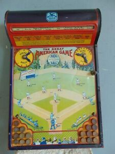 VINTAGE 1920's THE GREAT AMERICAN BASEBALL TIN LITHOGRAPHED MECHANICAL GAME