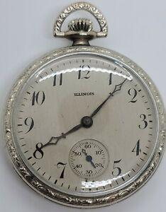 Antique Working 1925 ILLINOIS 'Elite' 17J Gents Silver Art Deco Pocket Watch 12s