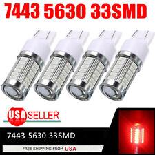 4X Red 7443 7440 33SMD Tail Brake Stop High Power LED Bulbs 6000K 12V