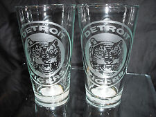 DETROIT TIGERS RETRO ETCHED (2) LOGO PINT GLASSES NEW 16 OUNCES
