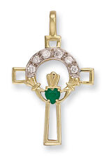Cross Pendant Claddagh pendant Claddagh cross Green agate Claddagh Yellow Gold