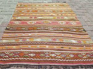 "Door mat, Turkish Small Kilim Rug, Bathmat, Small Carpet, Teppiche Tapis 41""X50"""