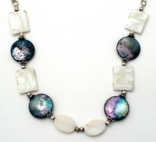 """Abalone Shell & Mother of Pearl Necklace Sterling Silver 18"""" Long Gray and White"""