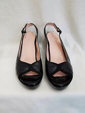 TARYN ROSE WOMEN SHOES OPEN TOE & BACK WEDGE HEELS PATENT LEATHER CANVAS SIZE 8