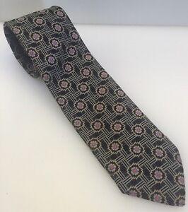 Robert Talbot Best in Class 100% Silk Necktie Tie Hand USA Made Black Geometric