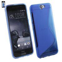 HTC One A9 Cover Custodia Case Silicone S-Line BLU +Pellicola